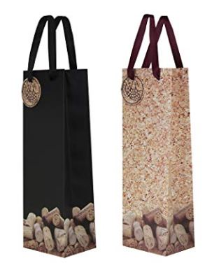 "Wine Gift Bag ""Bed of Corks"" - Black or Corky_THUMBNAIL"
