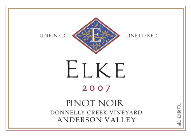 label image - elke vineyards, 2013 pinot noir, donnelley creek vineyard