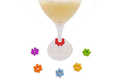 "Bella Vita's ""Flowers"" Wine Glass Charms / Markers - set of 6"