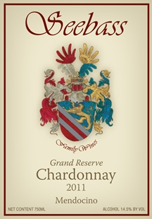 Seebass Family Wines, 2012 Chardonnay, Grand Reserve (Mendocino)