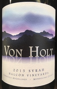 Von Holt 2015 Syrah Halcon Vineyard Yorkville Highlands MAIN