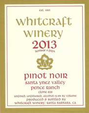 "Whitcraft Winery 2015 Pinot Noir Pence Ranch Vyrd ""Pommard Clone"""
