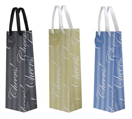 "Wine Gift Bag ""Cheers!"" - Black, Beige or Blue"