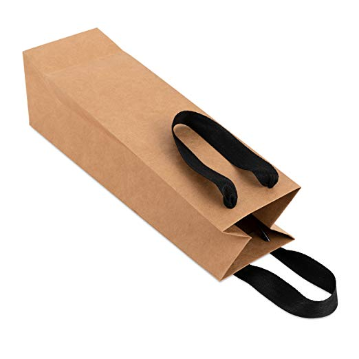 Wine Gift Bag - Brown Kraft Paper, Black Cloth Handle