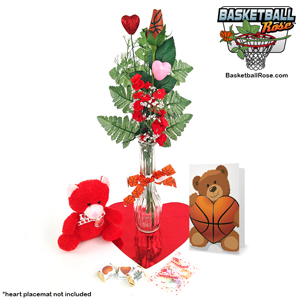 Basketball Rose Valentine's Day Vase Arrangement
