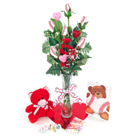 Baseball Rose Valentine's Day Vase Arrangement