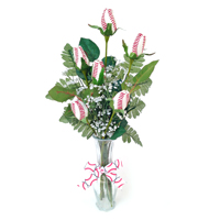 Baseball Rose Vase Arrangement