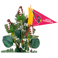 Arizona Cardinals Football Rose 3 Stem Arrangement - Football gift for home or office