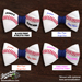 Baseball Hair Bow - Red Blue White Chevron Mini-Thumbnail