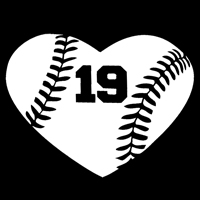 Baseball Heart Decal with Personalized Player Number