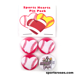 Baseball Hearts Pin Back Buttons Pack
