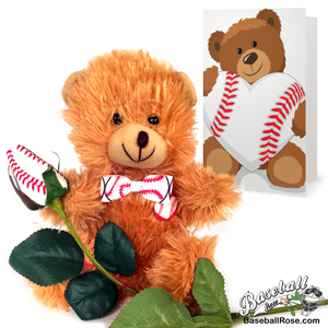 baseball rose teddy bear gift set