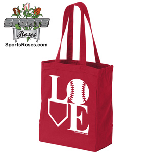 Baseball Softball LOVE Canvas Tote Bag