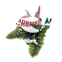 Baseball Rose Boutonnieres for baseball themed weddings, prom, homecoming