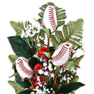 Baseball Rose Triple Play Vase Arrangement