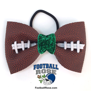Handmade Football Hair Bow made from real football leather with metallic green velvet ribbon center