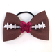 Basic Football Hair Bow - Pink Sparkle Mini-Thumbnail
