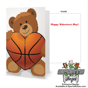 Valentine's Day Basketball Heart Greeting Card