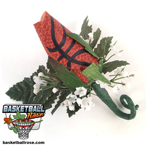 Basketball Rose Boutonnieres for football themed weddings, prom, homecoming