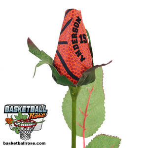 Basketball Rose with Player Name and Number - Basketball Themed Gifts