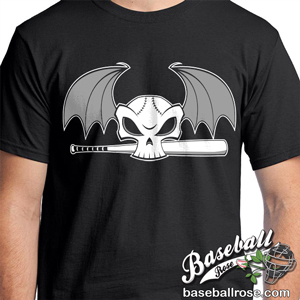 Baseball Skull and Bat Black T-Shirt