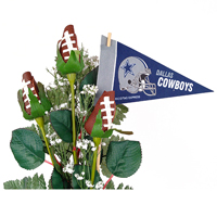 Dallas Cowboys Football Rose 3 Stem Arrangement - Football gift for home or office