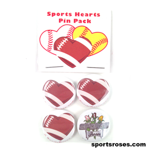 Football Hearts Pin Back Buttons Pack