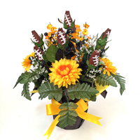 Football Rose Centerpiece Arrangment (Black and Yellow)