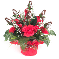 Football Rose Centerpiece Arrangement (Red and White)