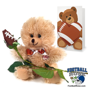 Football rose teddy bear gift set