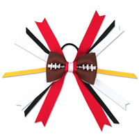 Handmade Football Hair Bow made from real football leather with Red White Black Yellow ribbon