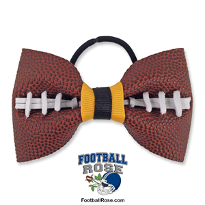 Handmade Football Hair Bow made from real football leather with Navy Blue Silver ribbon