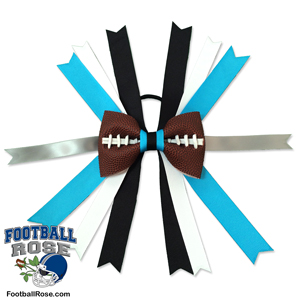 Handmade Football Hair Bow made from real football leather with Carolina Blue Black Silver White ribbon