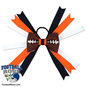 Handmade Football Hair Bow made from real football leather with blue orange white ribbon