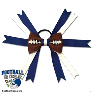 Handmade Football Hair Bow made from real football leather with Royal Blue and White ribbon