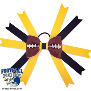 Handmade Football Hair Bow made from real football leather with Black Gold ribbon
