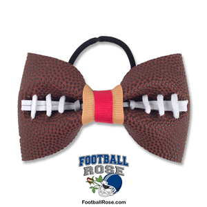 Handmade Football Hair Bow made from real football leather with Red Old Gold ribbon
