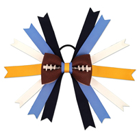 Handmade Football Hair Bow made from real football leather with navy blue, powder blue, gold, and white ribbon