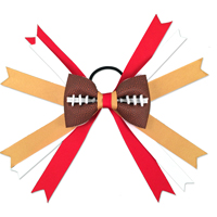 Handmade Football Hair Bow made from real football leather with Red Gold White ribbon