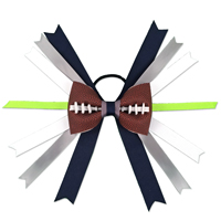 Handmade Football Hair Bow made from real football leather with Navy Blue, Grey, White, Lime Green Ribbon