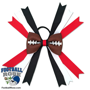 Handmade Football Hair Bow made from real football leather with red, black and white ribbon