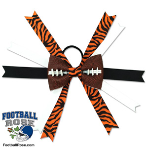 Handmade Football Hair Bow made from real football leather with Orange and Black Tiger Print ribbon