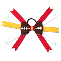 Handmade Football Hair Bow made from real football leather with Red Yellow White ribbon