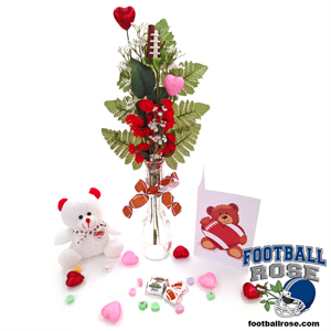 Football Rose Valentine's Day Vase Arrangement