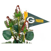 Green Bay Packers Football Rose 3 Stem Arrangement - Football gift for home or office