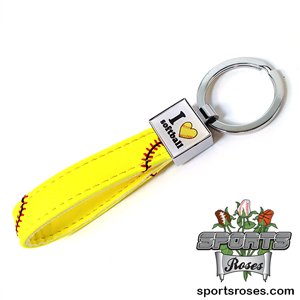 I Heart Softball Leather Key Chain
