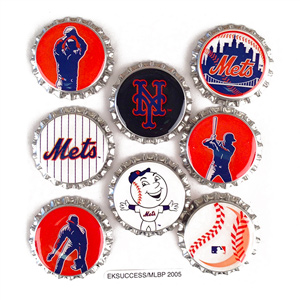 New York Mets MLB Scrapbook Adhesive Bottle Caps