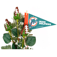 Miami Dolphins Football Rose 3 Stem Arrangement - Football gift for home or office