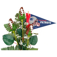 New England Patriots Football Rose 3 Stem Arrangement - Football gift for home or office
