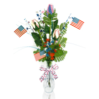 Patriotic Baseball Rose Flower Arrangements